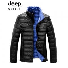 吉普JEEP 秋冬新款男士短款羽绒服保暖外套时尚户外衣 黑色 M