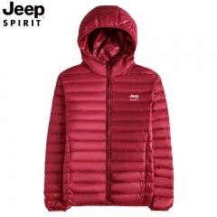吉普jeep羽绒服男士秋冬轻薄款连帽保暖外套吉普宽松大码上衣 红色 M