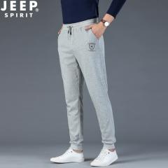 吉普JEEP 运动裤男士新款潮流小脚卫裤休闲裤束脚 灰色 M